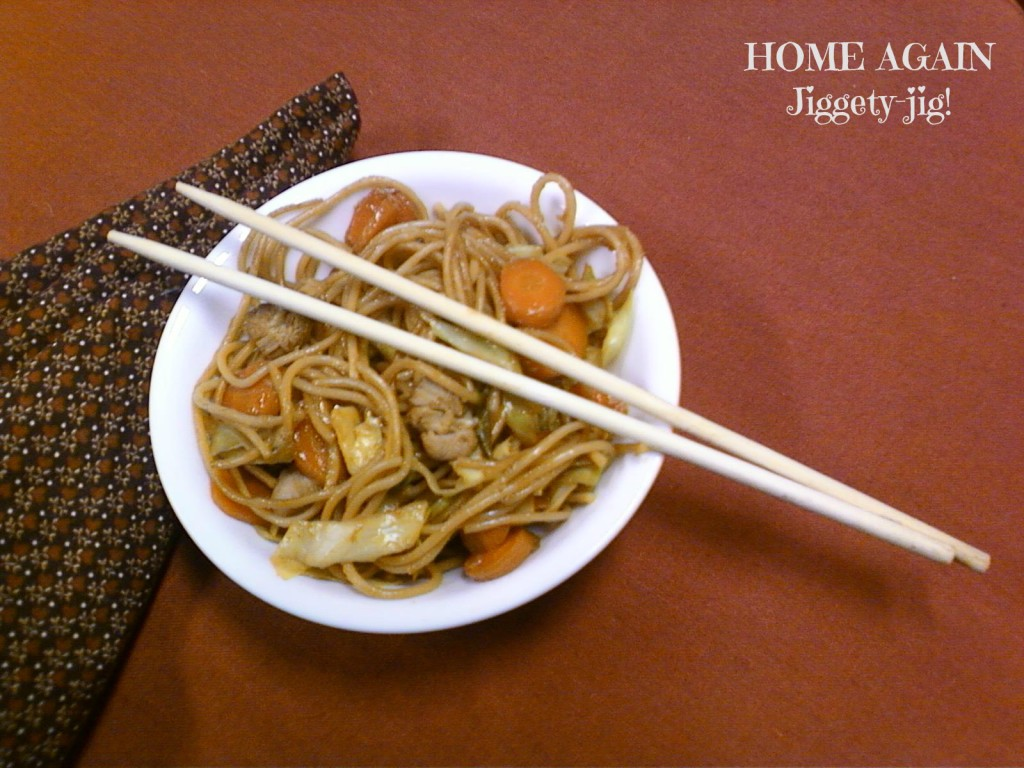 This is a recipe that uses Sesame Seed Oil in two ways, both to saute, and as a seasoning for the noodles.