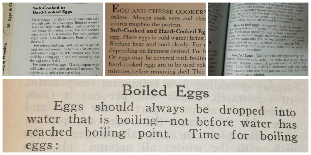 Directions from a variety of old cookbooks for hard boiling an egg.
