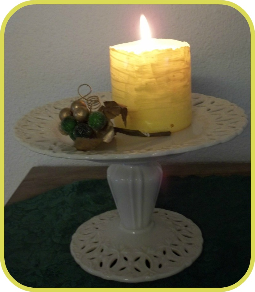 Yellow painted candle