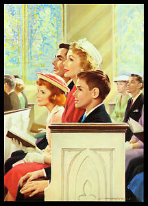 "VINTAGE 1950'S ""EXALT HIS NAME TOGETHER"" FAMILY CHURCH CALENDAR ART PRINT"
