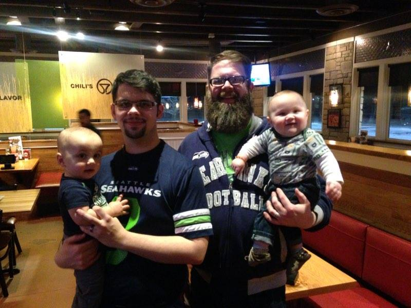 Our sons with their firstborns! Seahawk fans even though they live in Ohio and Oklahoma.